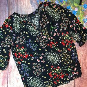 Cynthia Rowley Black Multicolored Floral Blouse 1X